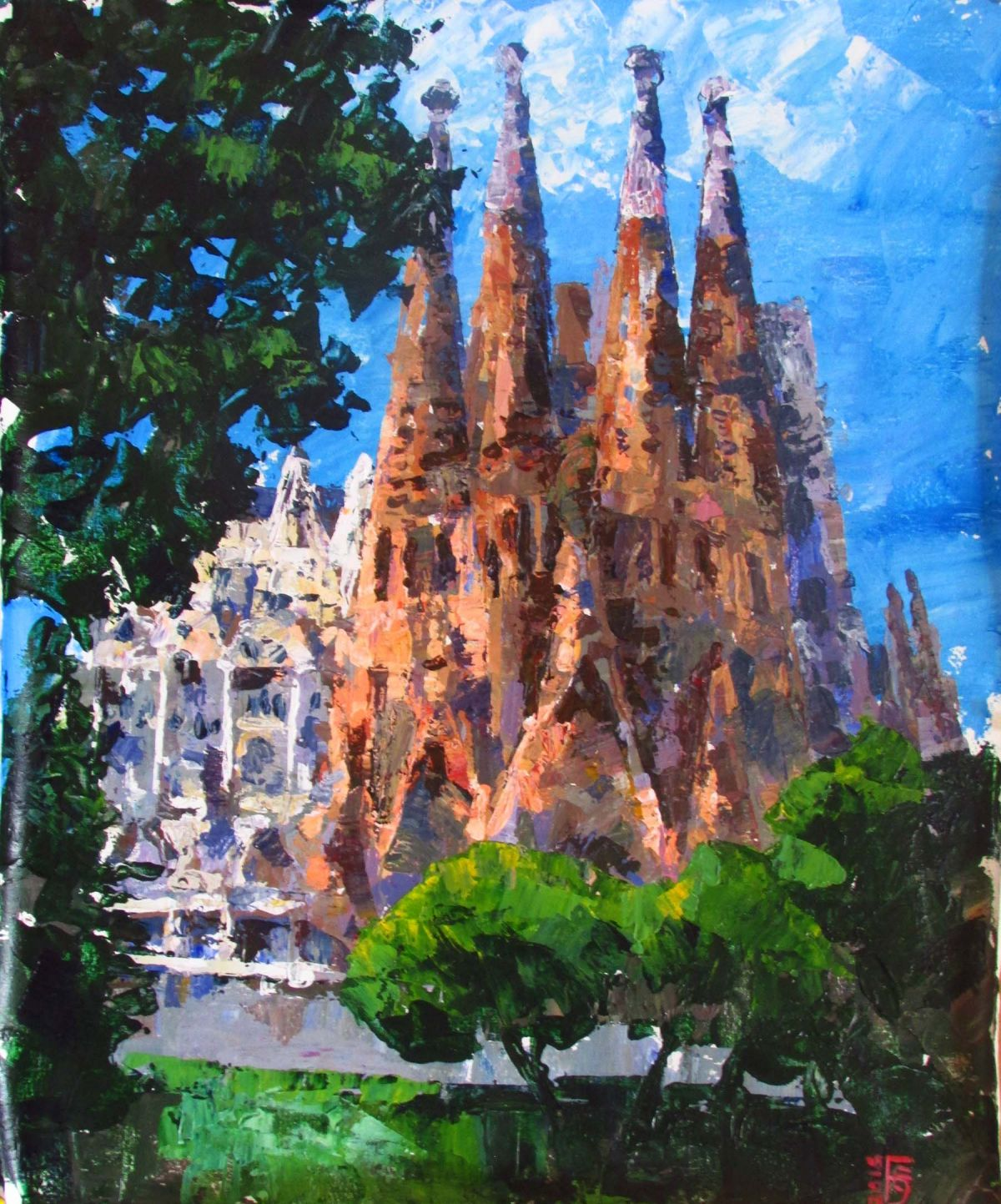 Barcelona La Sagrada Familia Midday ➮ Acrylic painting gallery ...
